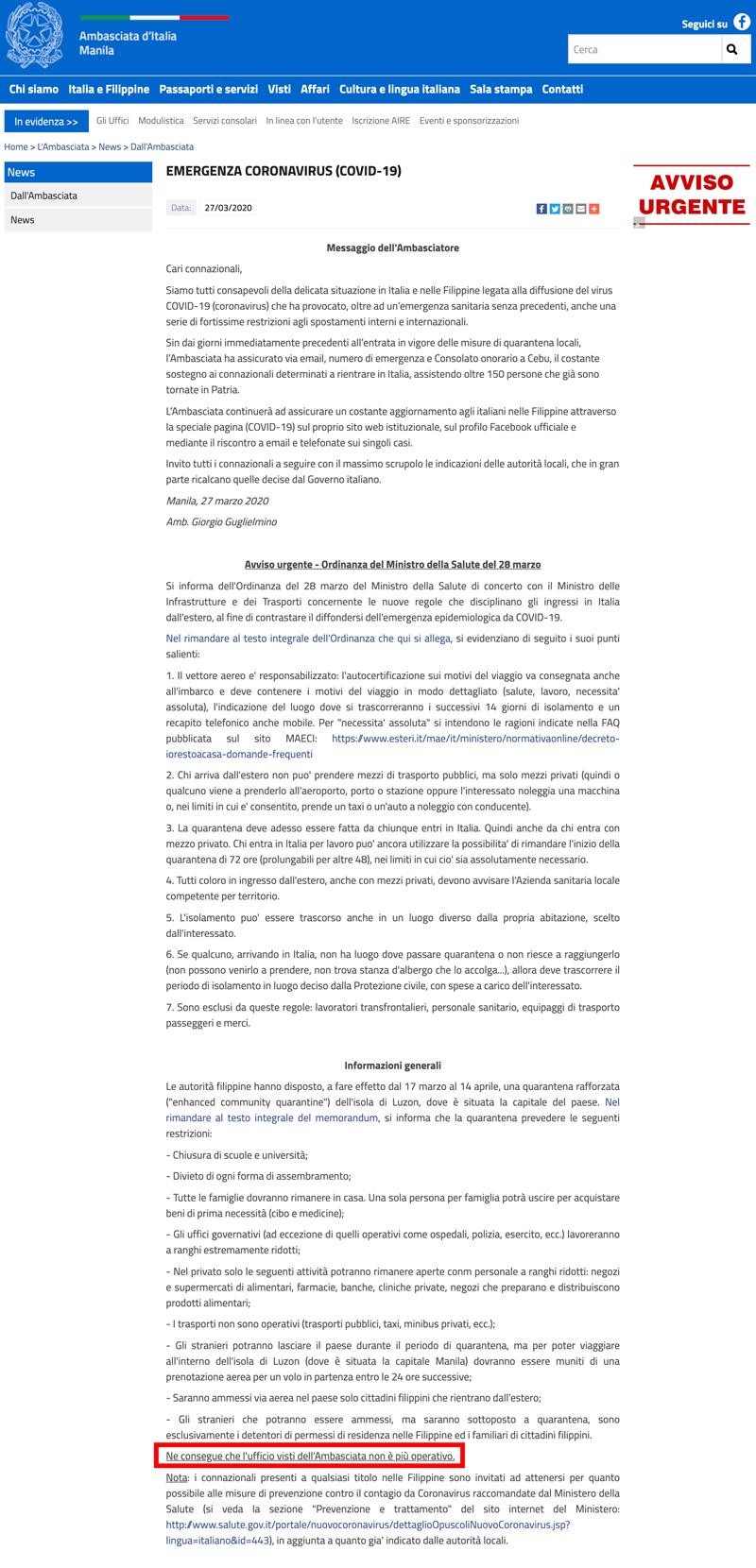 polizze-per-stranieri-covid19-sospeso-il-servizio-visti-allambasciata-ditalia-a-manila-filippine